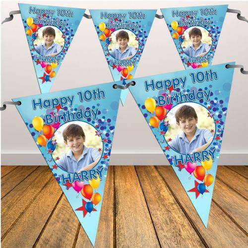Personalised Boys Happy Birthday Flag PHOTO Bunting Banner - N6